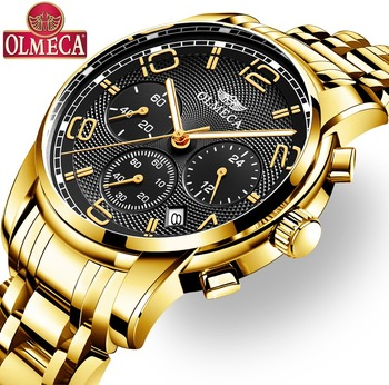 OLMECA Men Watches Casual Quartz Analog Stainless Steel Watch Military Waterproof Multi-function Time Calendar Relogio Masculino