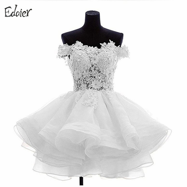 Black and white short lace prom dress
