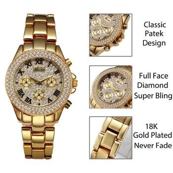 MISSFOX Women´s 18K Gold Ladies Luxury Fashion Chronograph Roman Quartz WristWatches 2
