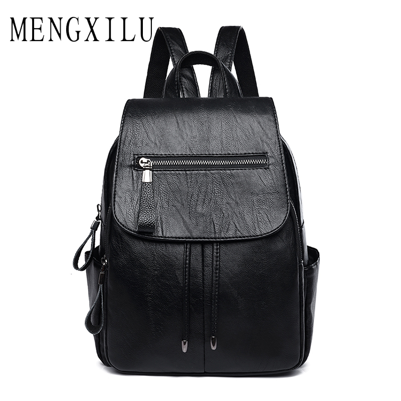 MENGXILU Women PU Leather Backpack School Bag Casual Vintage Large Capacity Travel Backpacks Fashion Backpacks for Teenage Girls brand women backpack pu leather school backpacks for teenage girls shoulder bag large capacity travel bags