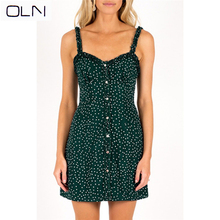Women Sweet Heart Neck Floral Print Mini Dress Frill Trim Green  single-breasted wavelet point lace strap