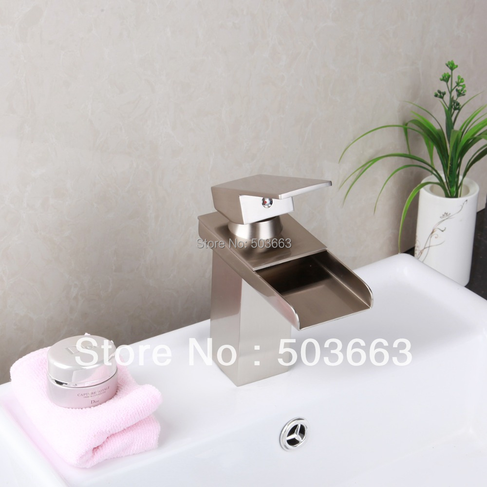 Nickel Brushed Waterfall Sink Basin Bathroom Vanity Hot & Cold Water Ceramic Deck Mounted Single Handle Mixer Tap Faucet MF-014 стоимость