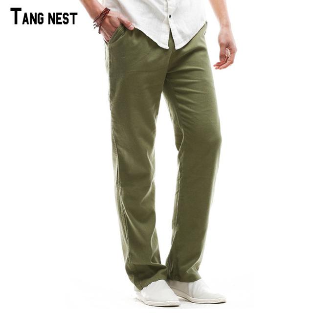Tangnest hombres de lino pantalones 2017 nuevos hombres de la llegada ocasional sólido fino pantalón de lino pantalones rectos masculinos transpirable fresco mkx1055