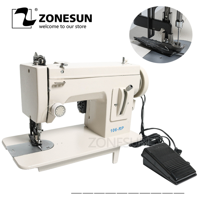 ZONESUN 106-RP-straight Household Sewing Machine Fur Leather Fell Clothes Thick Sewing Tool Thick Fabric Material Stitching Tool