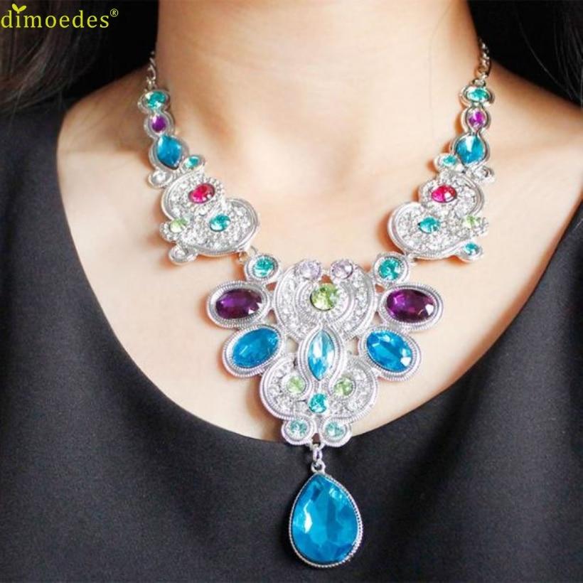 Kreativna ogrlica za žene privjesak lanac žena Izjava Kristalna bib perlica ogrlica Choker pribor Seksi lanac