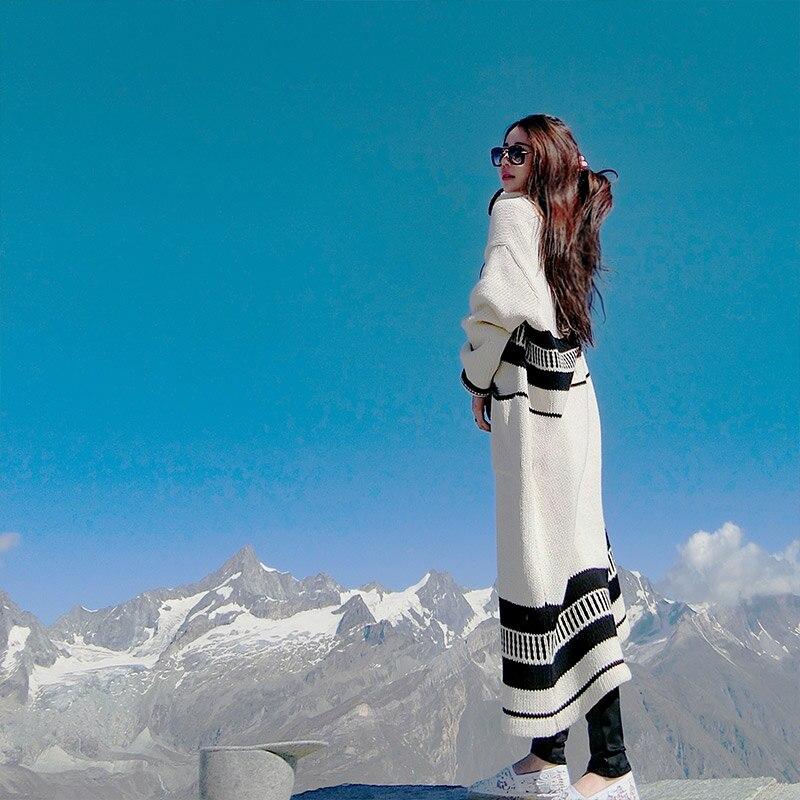 Весна вязание тренчи для женщин женские повседневное длинное пальто для осень свободные ветровка сращены геометрический узор кардиган одежда