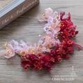 Красный и розовый Кристалл лента для волос ювелирные изделия перлы цветочный оголовье ручной работы украшения для волос свадебные аксессуары photographyqr035