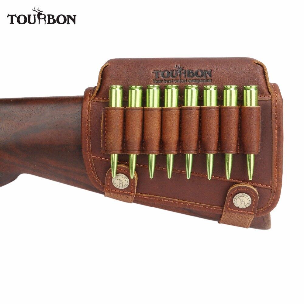 Accessoires de pistolet de chasse Tourbon support de repose-joue de fusil en cuir véritable Buttstock de tir avec support de cartouches de munitions pour gauche