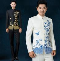 White black red blue 2020 new arrival embroidered men chinese tunic suit set mens suits wedding groom formal dress costume