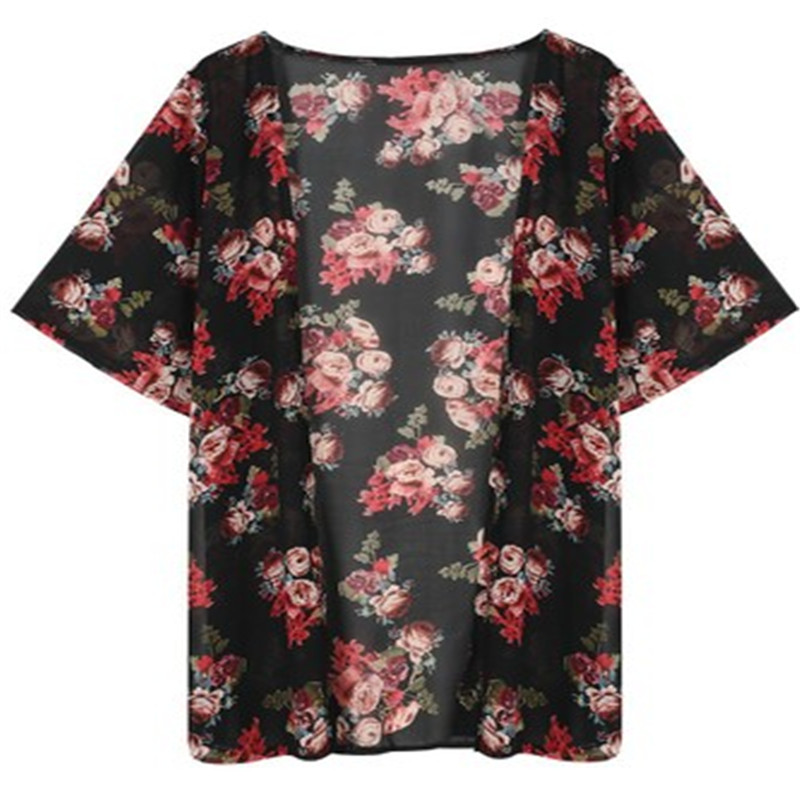 Women Casual Vintage Kimono Cardigan Ladies 2018 Summer Long Crochet Chiffon Kimono preto Loose flora printed