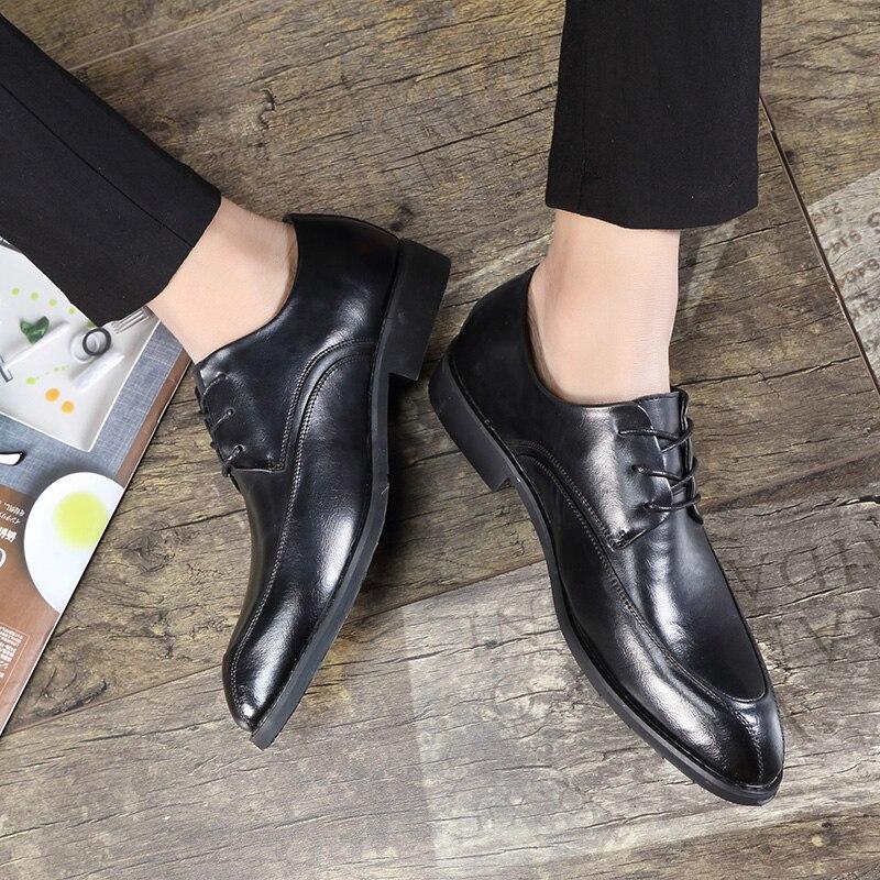Mens formale Wedding uomo Shoes alta Brand appartamenti up Leather Lace per di grigio 2017 affari Oxford nero qualità Dress qaSqwrxvp