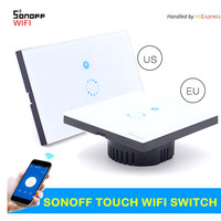 US EU Itead Sonoff Touch WIFI Switch Luxury Crystal Glass Plate Touch Wireless Timing APP Switch