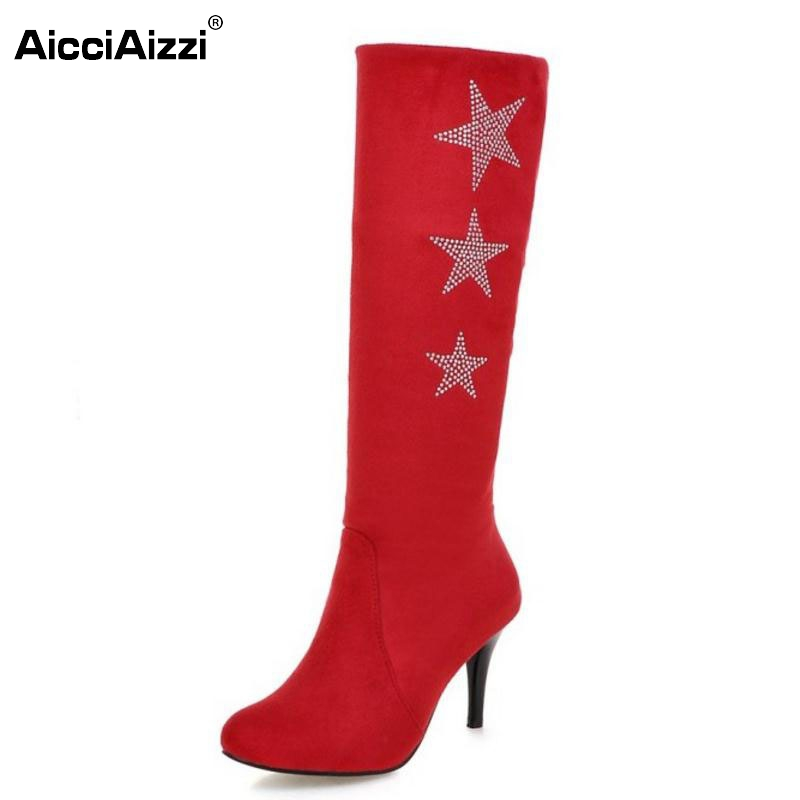 Women Pointed Toe Knee Boots Woman Sexy Suede Leather High Heel Shoes New Star Winter Fur Heels Botas Feminina Size 32-50