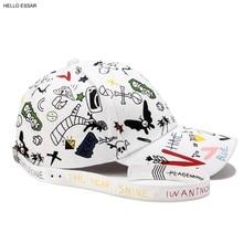 Nuevos hombres creativo blanco Graffiti diseño béisbol sombrero Vintage  Correa larga estilo mujeres calientes mejor verano gorra. d3460dd01db