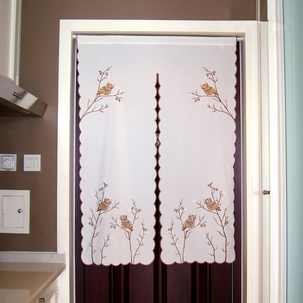 Half Curtain Owl Embroidered Window High Grade Valance