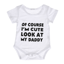 White Baby Bodysuit Newborn Baby Boy Girl Casual Jumpsuit  Letter Print Outfits Infant Kids Sunsuit Clothes Summer for 0-18M