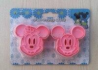 Bán buôn 10 Bộ/lô Cụ Bánh Trang Trí, 2 cái/bộ Mickey Mouse Bánh Cookie Kẹo Jelly Biscuit fondant Dụng Cụ Cầm Miễn Phí Vận Chuyển