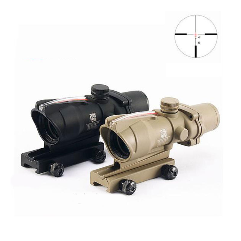 ACOG 4X32 Fiber Laser Red Dot Sight Acog Scopes Illuminated Reticle Outdooor Hunting Rifle Scope compact m7 4x30 rifle scope red green mil dot reticle with side attached red laser sight tactical optics scopes riflescope