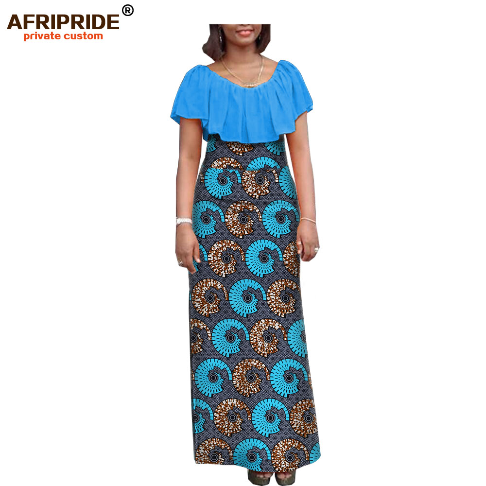 19 autumn women dress african clothing AFRIPRIDE short sleeve ankle-length women casual straight dress 100% pure cotton A7225138