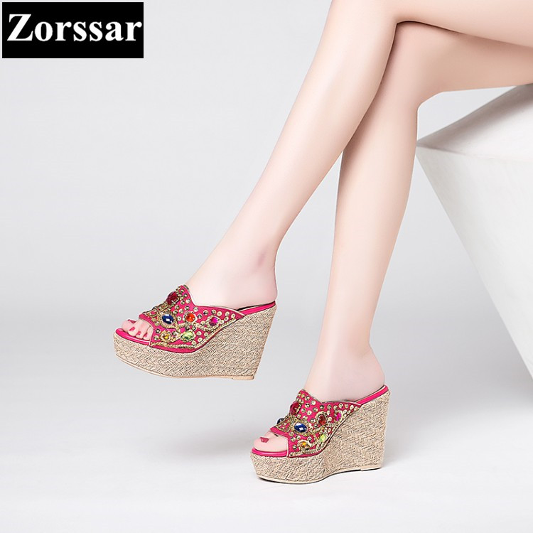 High Quality 2017 NEW Summer Women Shoes wedges slippers rhinestone High heels womens Slides Fashion Casual women Peep toe shoes new 2017 spring summer women shoes pointed toe high quality brand fashion womens flats ladies plus size 41 sweet flock t179