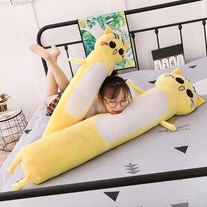 Image 2 - 90 165cm büyük boy oyuncaklar sevimli sarı kedi Pllow yumuşak yastık doldurulmuş hayvanlar kedi peluş oyuncaklar noel hediyesi çocuklar için