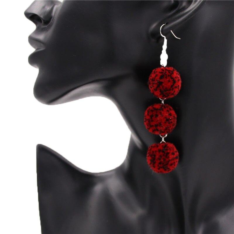 Bohemia Tassels Dangle Clip on Earrings Screw on backs Triangular Girls Thread No piercing Drop Light Red