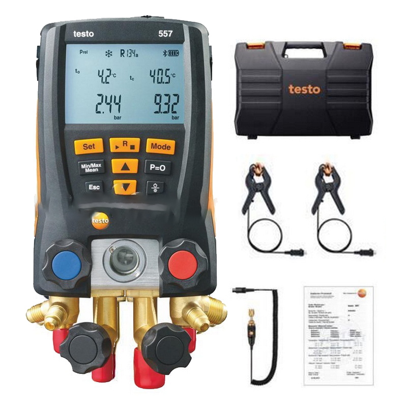TESTO 557 Refrigeration Gauge DIGITAL MANIFOLD GAUGE KIT BLUETOOTH CASED with Clamp Probes External Vacuum gauge testo 550 1 refrigeration manifold kit 0563 5505 with 1 clamp probe surface temperature measurement