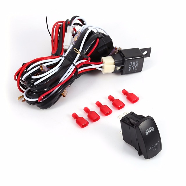 1 Set LED light bar 0N/OFF laser rocket switch 20A relay fuse wiring ...