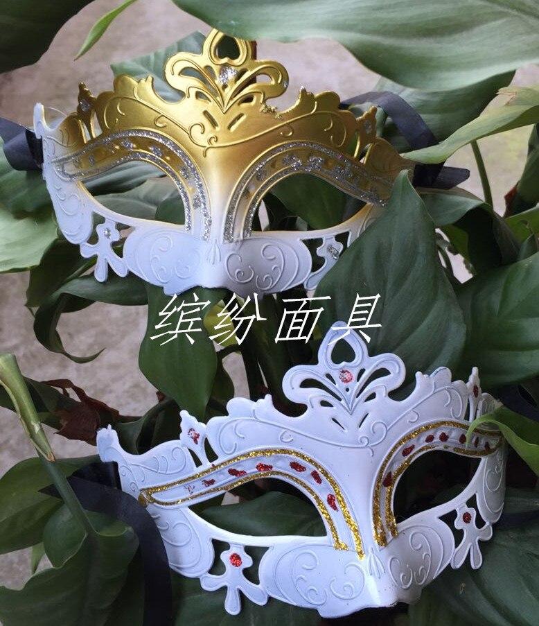 Halloween taneční párty polovinu tváře Benátky páv maloval bílou masku Halloween masku