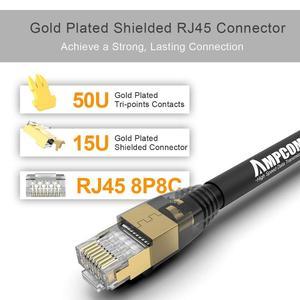 Image 4 - Kabel Ethernet AMPCOM S/FTP CAT8, szybki kabel krosowy 10 gb/s, 25 gb/s, 40 gb/s ze złoconym złączem RJ45
