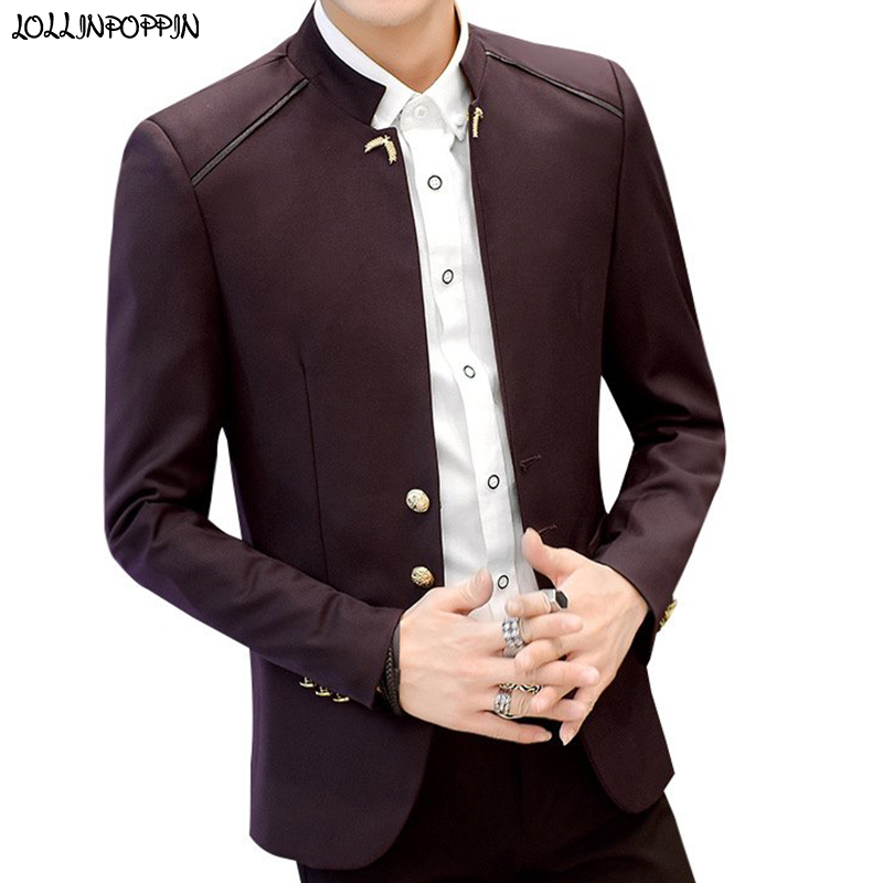 Stand Collar Men Casual Blazers Three-Buttons Single Breasted Slim Fit Jacket 2019 New Spring Autumn Mens Chinese Style Blazer