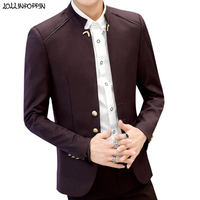 Stand Collar Men Casual Blazers Three Buttons Single Breasted Slim Fit Jacket 2019 New Spring Autumn Mens Chinese Style Blazer