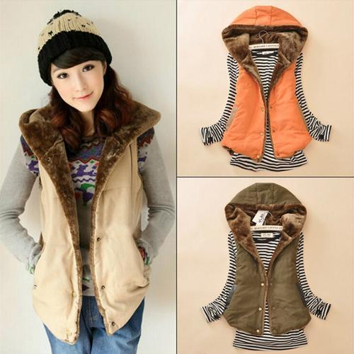 2017 Women Warm Winter Hooded Vest Plus Velet Winter Sleeveless Candy Color Thick Cotton Coat