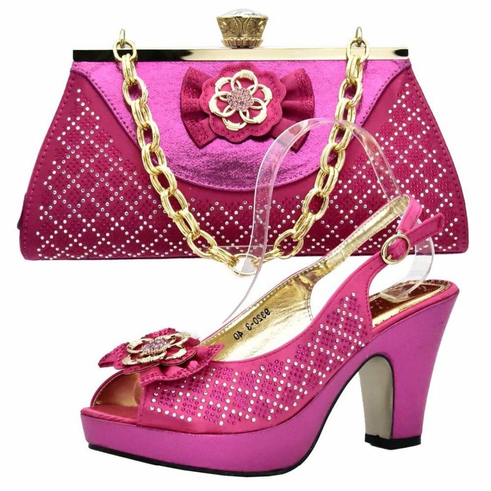 56d8ead32a87 Elegant fushia hot pink shoes and bag aso ebi wedding party sandal and  wedding clutches bag purple shoes and bag SB8186-4