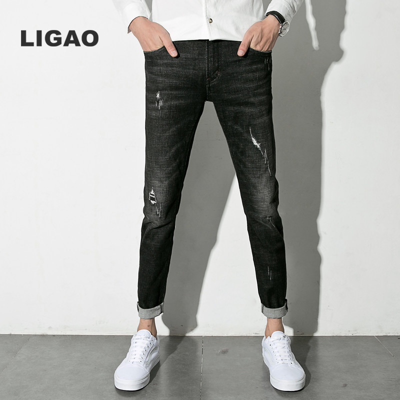 LIGAO 2017 Men's Jeans Straight Trousers Pants Elastic Men Fashion Ripped Slim Denim Pants Full Length Plus Size Brand Clothing men s cowboy jeans fashion blue jeans pant men plus sizes regular slim fit denim jean pants male high quality brand jeans