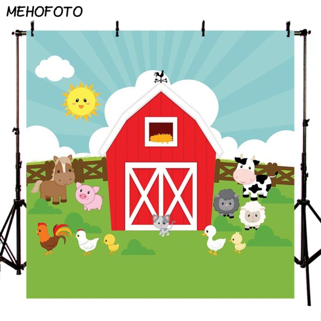 Farm Theme Photography Backdrop Animals Red Barn Barnyard House Birthday Banner Illustration Background Photo Studio Photocall
