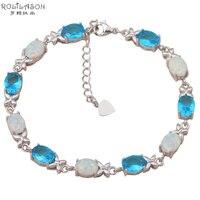 Proveedor de Super Blanco ópalo de fuego de Plata Estampado Pulseras Del Encanto para las mujeres Azul Crystal Party & Wedding la joyería OB038