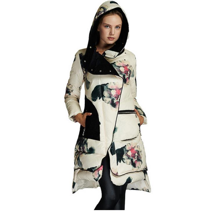 Abrigos Chaquetas Mujer Invierno 2018 Winter Jacket womans Floral Print White Duck Down Parka Female jacket Winter Coat W444