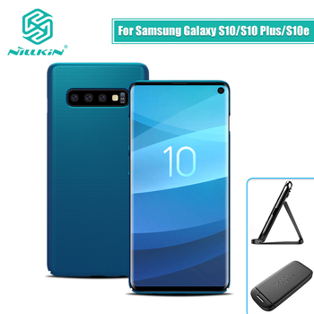 NILLKIN Voor Samsung Galaxy S10e Lite/S10/S10 Plus Case Cover Frosted PC Matte hard cover Gift telefoon Houder 5.8/6.11/6.4