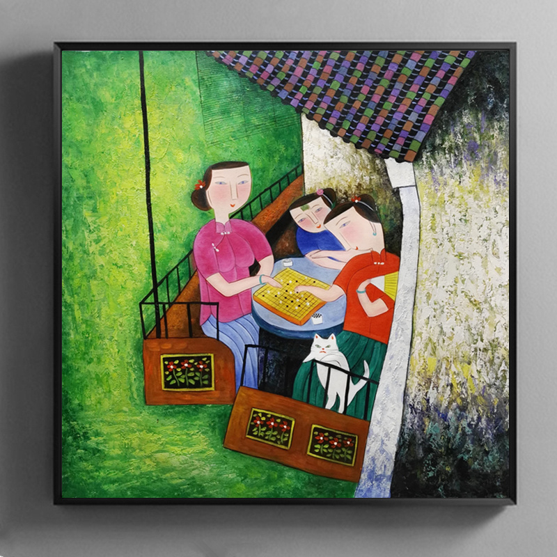 Hand painted Oil Painting on Canvas Hu YongKai Chinese Contemporary Art Woman Wall Art Pictures for Living Room Home Decor