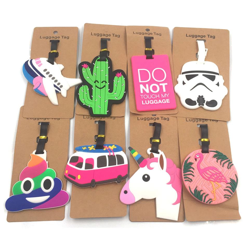 Travel Accessories Cartoon Unicorn Silica Gel Luggage Tags Animal Holder Suitcase ID Addres Baggage Boarding Portable Label