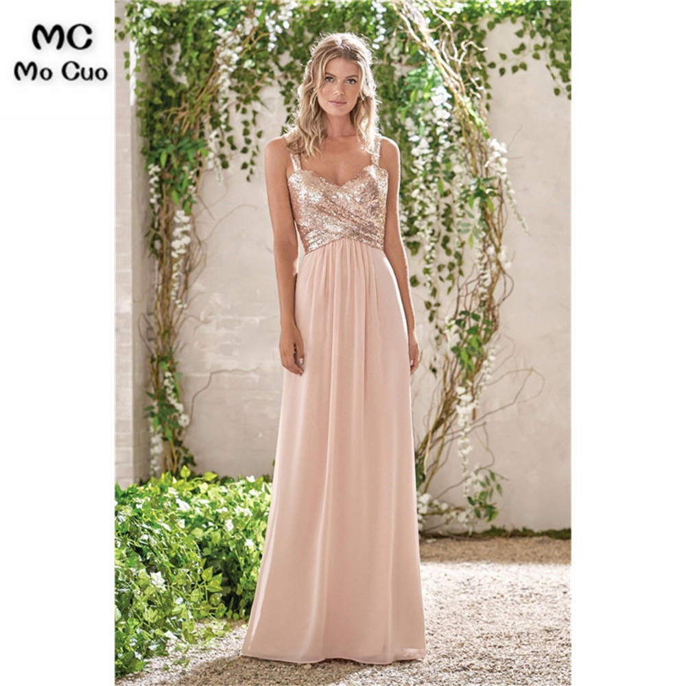 Ready   Bridesmaid     Dress   Long with Sequined Chiffon Formal Wedding Party   Dress   Backless Women   Bridesmaid     Dress   Custom Made
