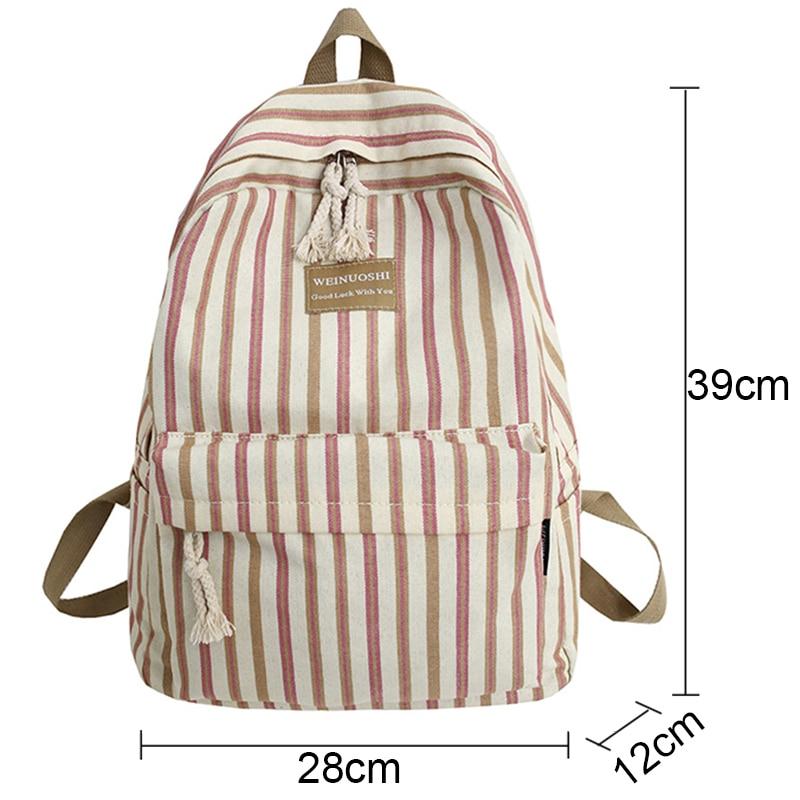 Image 4 - Female Canvas Plaid backpack Student women school bag girl Striped cute backpacks kawaii streak ladies harajuku bag book teenage-in Backpacks from Luggage & Bags