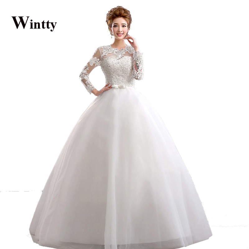 Wintty lace vestido de novia 2017 white china bridal gowns for Plus size lace wedding dresses cheap