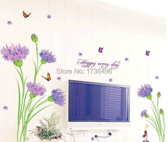 Purple Pollen Removable Wall Art Decal Sticker Diy Home: 3D Purple Carnations Room Vinyl Decal Art Home Decor Wall