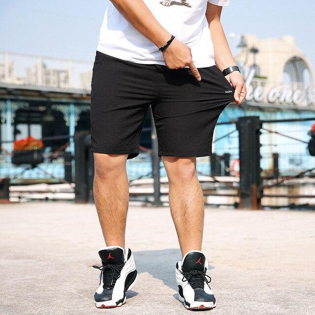 Verão 2019 Nova Chegada solto Moda Casual Meados Cintura Fina curto Elástico Na Cintura Com Cordão de Algodão puro Homens Plus Size xl 2xl-7xl