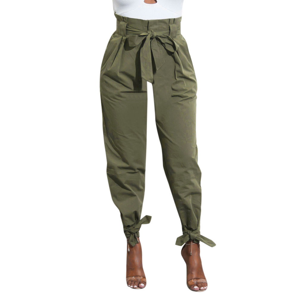 Jaycosin clothes Womens Cotton pants Ladys Belted High Waist Trousers Ladies Party Casual Pants