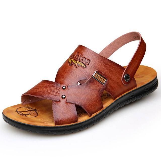 Summer beach shoes men sandals 2019 solid casual non-slip dual use sandals men shoes PU ankle strap men slippers calzado hombre