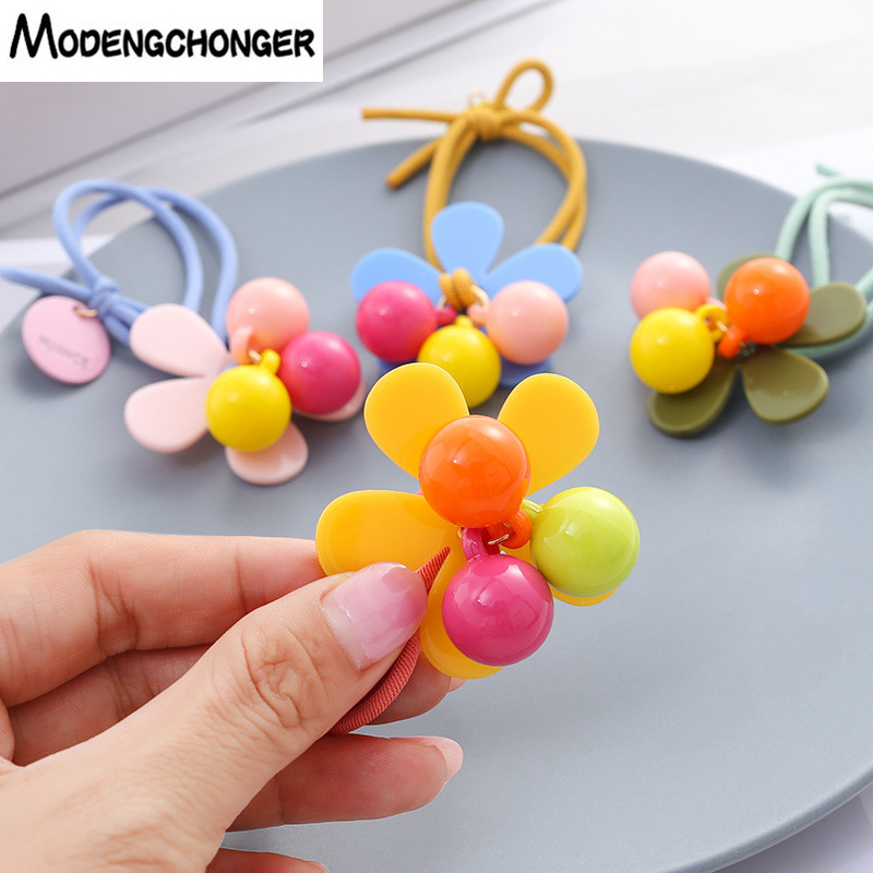 New Arrival Candy Colour Hair Tie Elastic Band Ponytail Holder Rope Beads Scrunchie Gum Girls2019Hair Accessories