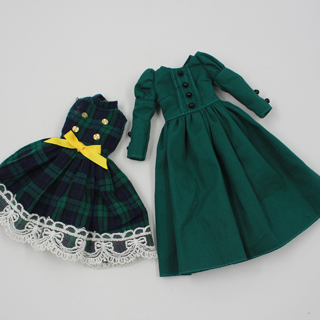 2016 New Doll Clothing  Accessories Retro dark green long section bottoming skirt Beautiful dress for 1/6 Blyth Doll